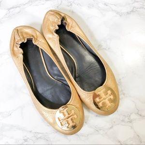 Tory Burch Gold Minnie Travel Ballet Flats